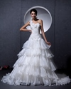 Show details for Ivory One Shoulder Flower Strap Sweetheart Organza Layered Wedding Dress