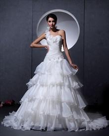 Ivory One Shoulder Flower Strap Sweetheart Organza Layered Wedding Dress