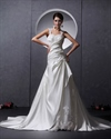 Show details for Ivory Satin A Line Sweep Train Applique Wedding Dress With Open Back