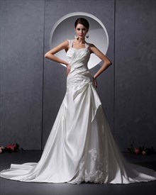 Ivory Satin A Line Sweep Train Applique Wedding Dress With Open Back