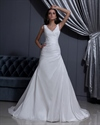 Show details for Chic Ivory V Neck Ruched Bodice Taffeta Dress For Beach Wedding