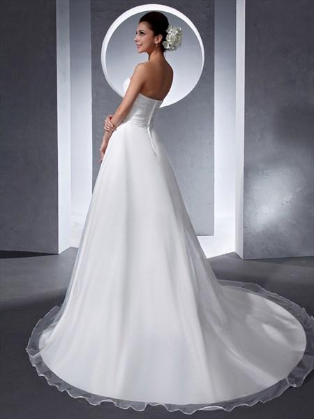 Simple Elegant Ivory Organza Sweetheart Chapel Train Wedding Dress
