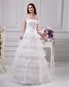 Show details for Ivory Strapless Lace And Tulle Layered Skirt Wedding Dress With Jacket