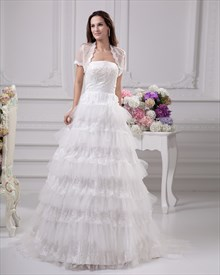 Ivory Strapless Lace And Tulle Layered Skirt Wedding Dress With Jacket