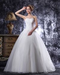Ivory Dropped Waist Organza Wedding Gown With Beaded Lace Bodice