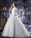 Show details for Ivory Dropped Waist Organza Wedding Gown With Beaded Lace Bodice