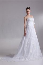 White Lace Chapel Train Sweetheart Wedding Dress With Flower Belt
