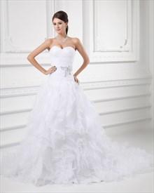 White Strapless Drop Waist Organza Wedding Dress With Ruffled Skirt