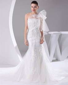 Ivory One Shoulder Tulle Mermaid Wedding Dresses With Lace Appliques