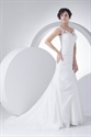 Show details for White V Neck Taffeta Lace Bodice Wedding Gown With Floral Appliques