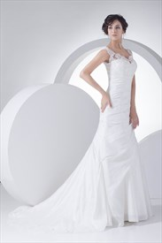 White V Neck Taffeta Lace Bodice Wedding Gown With Floral Appliques