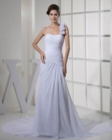 White One Shoulder Ruffle Slim A-Line Chiffon Beach Wedding Dress