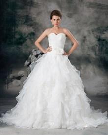Ivory Sweetheart Strapless Organza Wedding Dress With Ruffled Skirt