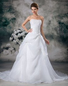 White Strapless Lace Appliques Organza Wedding Dress With Pick Up Skirt