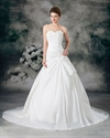 Show details for Ivory A Line Strapless Chapel Train Wedding Dress With Floral Appliques