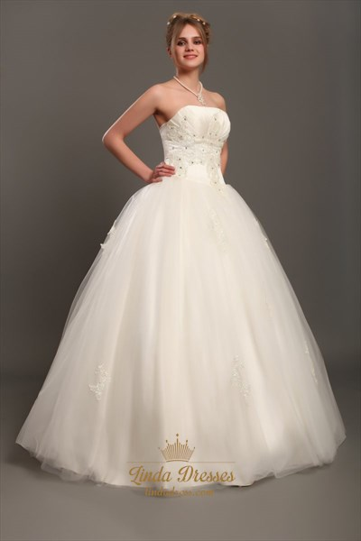 Ivory Strapless Tulle Ball Gown Wedding Gown With Beaded Appliques