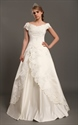 Show details for Ivory Satin A Line Off The Shoulder Cap Sleeve Wedding Dress With Lace