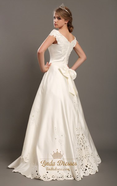 Ivory Satin A Line Off The Shoulder Cap Sleeve Wedding Dress With Lace