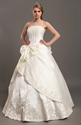 Show details for Ivory A-Line Satin Strapless Wedding Dresses With Lace Appliques