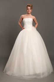Ivory Strapless Tulle Ball Gown Wedding Dresses With 3d Floral Details