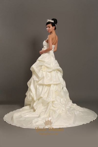Ivory Strapless Pick Up Skirt Lace Wedding Dresses With 3d Floral Detail