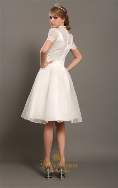Ivory A-Line Knee-Length Organza Wedding Dress With Buttons Design