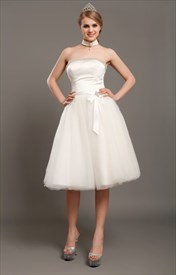 Vintage Ivory Tulle Strapless Tea Length Wedding Dress With Beading