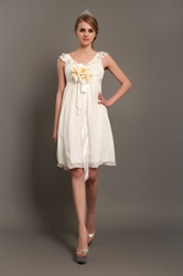 Ivory A-Line V-Neck Knee-Length Chiffon Wedding Dress With Flowers