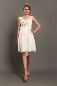 Ivory A-Line V-Neck Knee-Length Chiffon Wedding Dress With Flowers