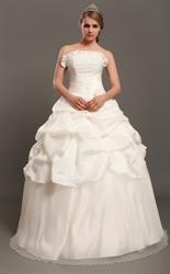 Ivory Strapless Taffeta Pick Up Wedding Dress With Pearl Beading