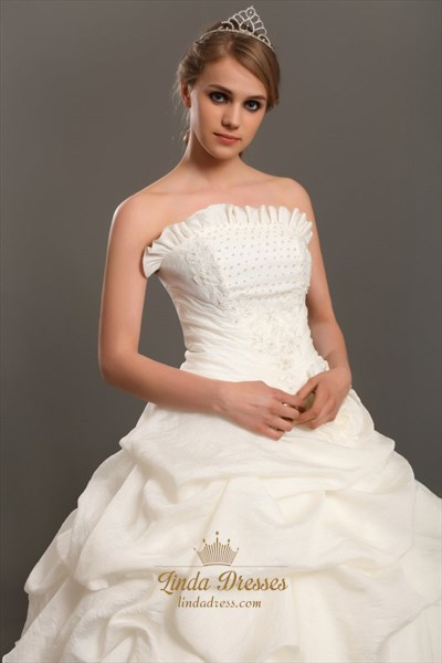 Ivory Strapless Taffeta Pick Up Wedding Dress With Pearl Beading