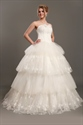 Show details for Ivory Sweetheart Strapless Ball Gown Wedding Dress With Layered Skirt