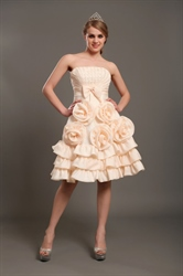 Short Peach Strapless Beaded Bodice Wedding Dress With Rosettes
