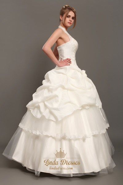 Ivory Taffeta Halter Lace Embroidery Wedding Dress With Pick Ups