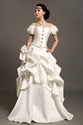 Ivory Satin A Line Off The Shoulder Beaded Wedding Dress With Pick Ups