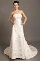 Show details for Ivory Strapless A-Line Dropped Waist Wedding Gown With Beaded Appliques