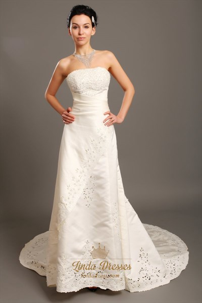 Ivory Strapless A-Line Dropped Waist Wedding Gown With Beaded Appliques