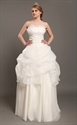 Show details for Ivory Pick Up Strapless Organza A Line Wedding Dresses With Beaded Lace