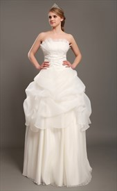 Ivory Pick Up Strapless Organza A Line Wedding Dresses With Beaded Lace