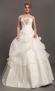 Ivory Halter Neck Organza Wedding Dresses With Floral Embellishments
