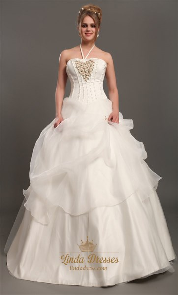 Ivory Halter Neck Organza Wedding Dresses With Floral Embellishments
