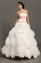 Show details for White Strapless Pick Ups Wedding Gown With Floral Embellishments