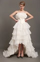 Show details for Ivory Unique Strapless High-Low Organza Wedding Dress With Tiers