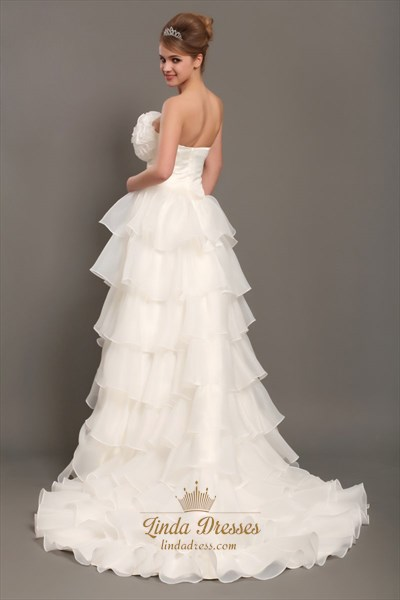 Ivory Unique Strapless High-Low Organza Wedding Dress With Tiers