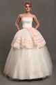 Show details for Ivory And Pink Strapless Ball Gown Tulle Wedding Dress With Lace