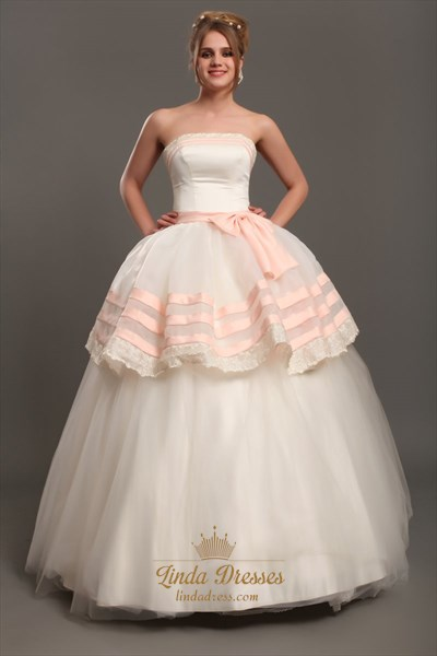 Ivory And Pink Strapless Ball Gown Tulle Wedding Dress With Lace