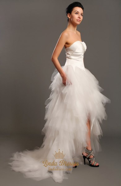 Unique Ivory Strapless Tulle Ruffle Skirt Wedding Dresses With Beading