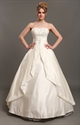 Ivory Strapless A Line Satin Wedding Dresses With Beaded Lace Appliques