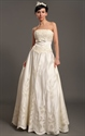 Show details for Ivory Strapless Satin Floor-Length Wedding Dresses With Antique Lace