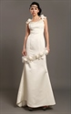 Show details for Ivory Sheath Satin V-Neck Wedding Dresses With Floral Embellishments